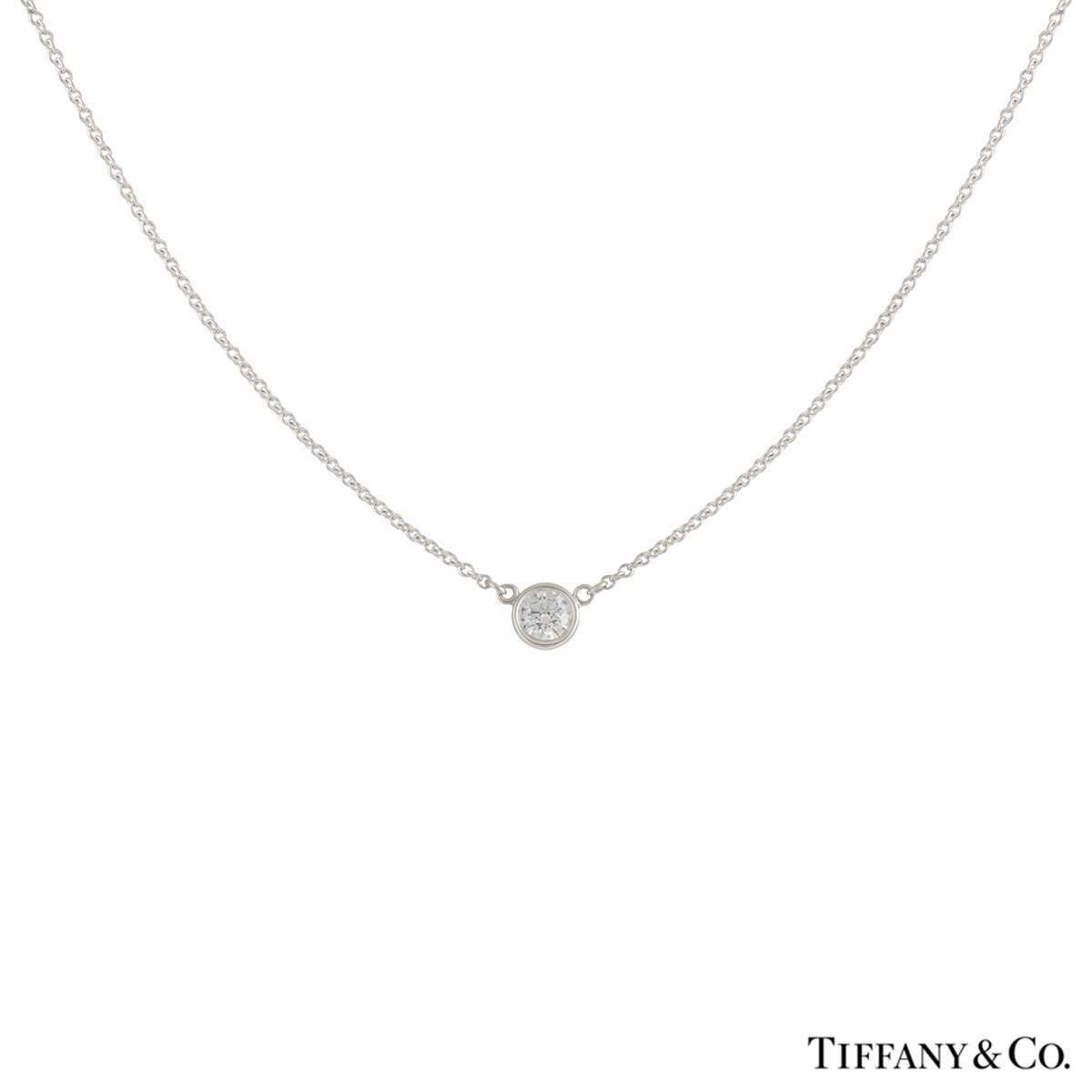 Tiffany & Co. Diamond Elsa Peretti Platinum Pendant 0.17ct